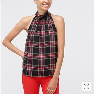 J crew plaid tank top with bow